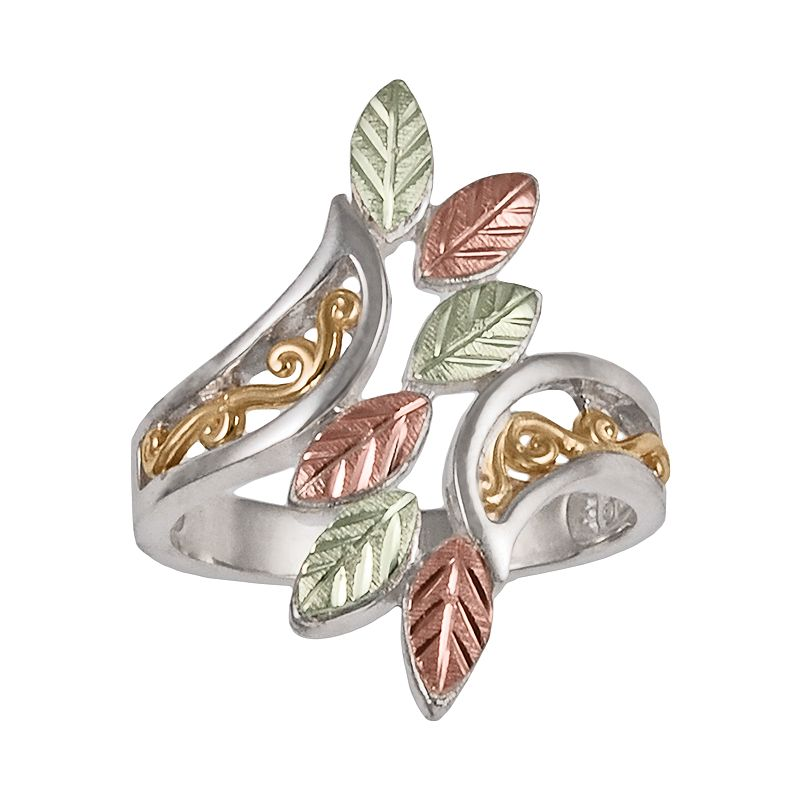 Black Hills Gold Four Tone Scrollwork & Leaf Bypass Ring in Sterling Silver