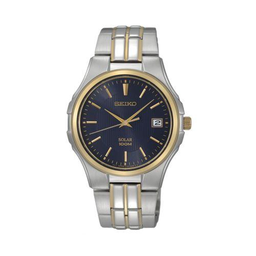 Seiko Solar Stainless Steel Two Tone Watch - SNE124 - Men