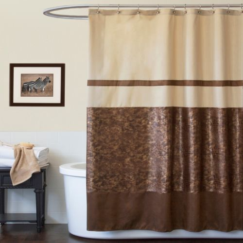 Lush Decor Croc Fabric Shower Curtain