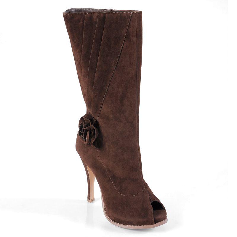 Journee Collection Versace Women's Peep-Toe Boots