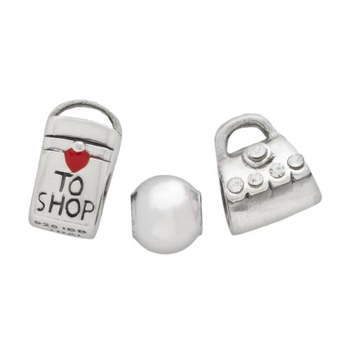 Individuality Beads Sterling Silver Crystal Purse, Bag and Spacer Bead Set