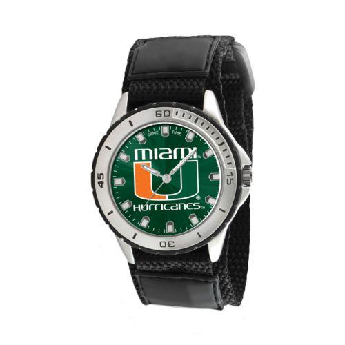 Game Time Veteran Series Miami Hurricanes Silver Tone Watch - COL-VET-MIA - Men