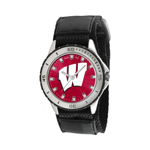 Game Time Veteran Series Wisconsin Badgers Silver Tone Watch - COL-VET-WIS - Men