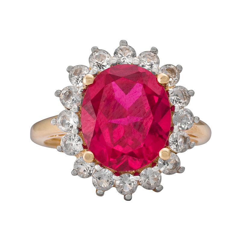 10k Gold Lab-Created Ruby and Lab-Created White Sapphire Ring