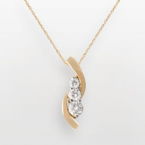 14k Gold 1/2 Carat T.W. Certified Diamond Swirl Pendant