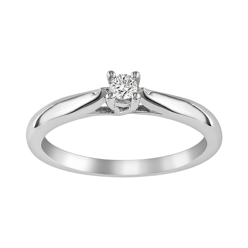 Sterling Silver 1/10-ct. T.W. Round-Cut Diamond Ring
