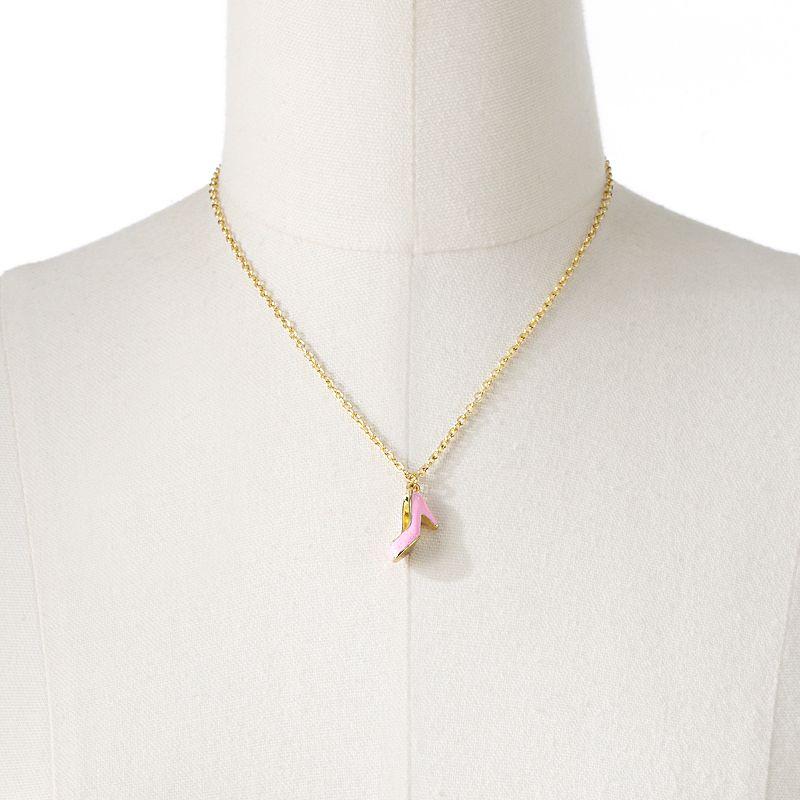 Disney Princess Cinderella Gold Tone Simulated Crystal Slipper Pendant