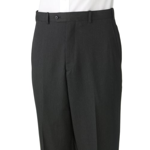 Adolfo Classic-Fit Solid Flat-Front Charcoal Suit Pants