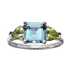 10k White Gold Blue Topaz & Peridot 3-Stone Ring by