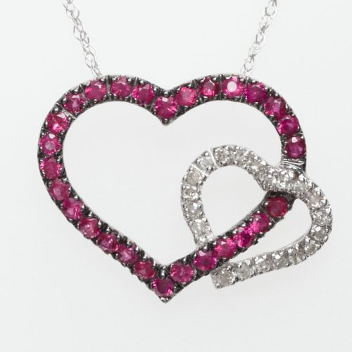 10k White Gold Ruby and Diamond Accent Heart Pendant