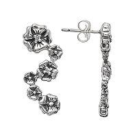Lyric Sterling Silver Diamond Accent Flower Drop Earrings