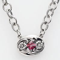 Lyric Sterling Silver Pink Topaz & Diamond Accent Necklace