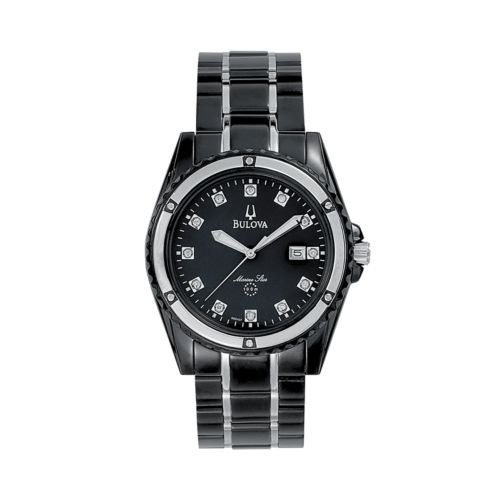 Bulova Marine Star Stainless Steel Black Ion Diamond Accent and Mother-of-Pearl Watch - 98D107 - Men