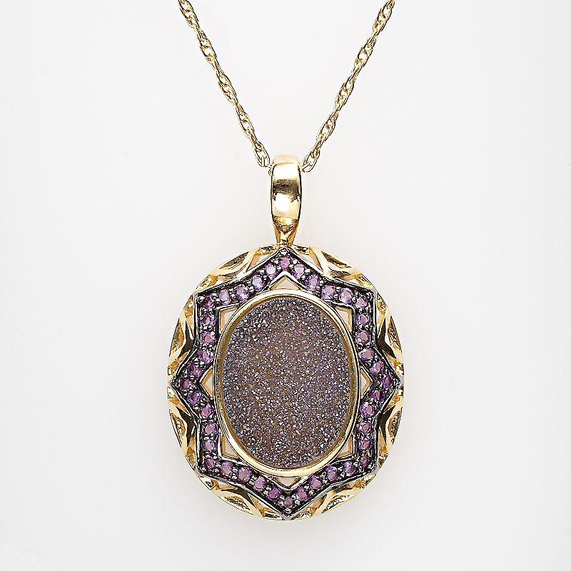 18k Gold Over Silver Drusy and Amethyst Pendant