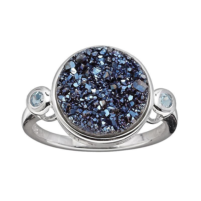 Blue silver topaz ring kohl 39 s for Kohls jewelry mens rings