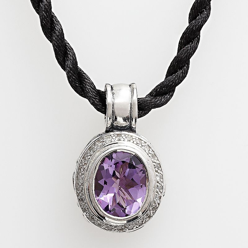 Lyric Sterling Silver Amethyst and Diamond Accent Pendant