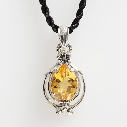 Lyric Sterling Silver Citrine and Diamond Accent Filigree Pendant