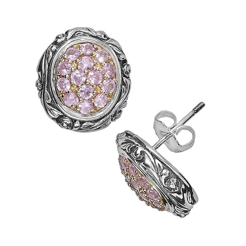 Lyric 18k Gold and Sterling Silver Pink Sapphire Oval Button Stud Earrings