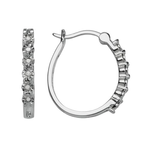 Sterling Silver 1/10-ct. T.W. Diamond Hoop Earrings