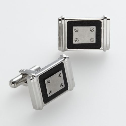 AXL by Triton Stainless Steel and Black Leather Cuff Links