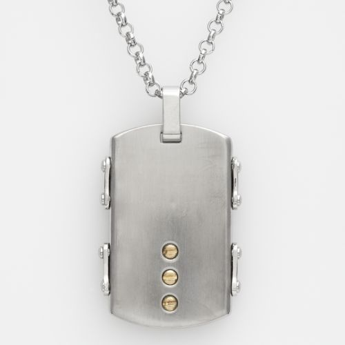 AXL by Triton Stainless Steel and 14k Gold-Over-Stainless Steel Dog Tag - Men