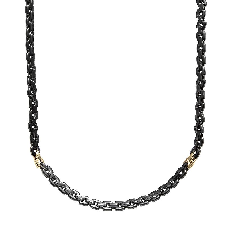 AXL by Triton Stainless Steel Black Ion and 14k Gold-Over-Stainless Steel Necklace - Men