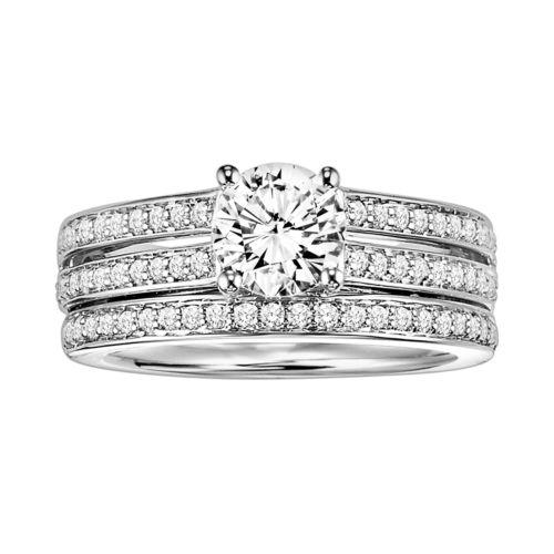 Cherish Always Round-Cut Diamond Engagement Ring Set in 10k White Gold (3/4 ct. T.W.)
