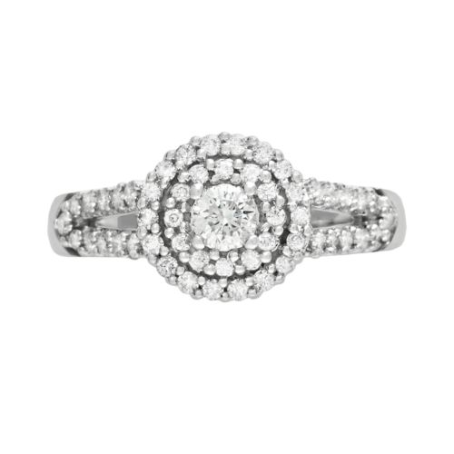 Cherish Always Round-Cut Diamond Frame Engagement Ring in 10k White Gold (5/8 ct. T.W.)