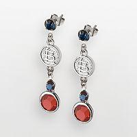 LogoArt St. Louis Cardinals Silver Tone Crystal Logo Drop Earrings