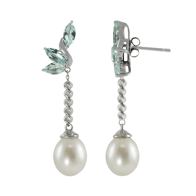 Sterling Silver Freshwater Cultured Pearl and Blue Topaz Drop Earrings