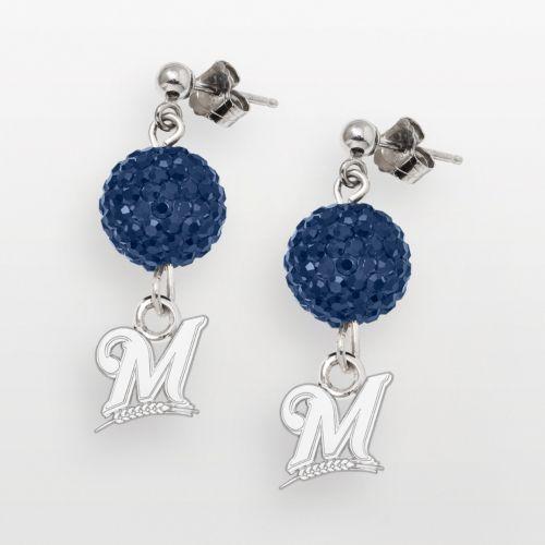 LogoArt Milwaukee Brewers Sterling Silver Crystal Logo Linear Drop Earrings