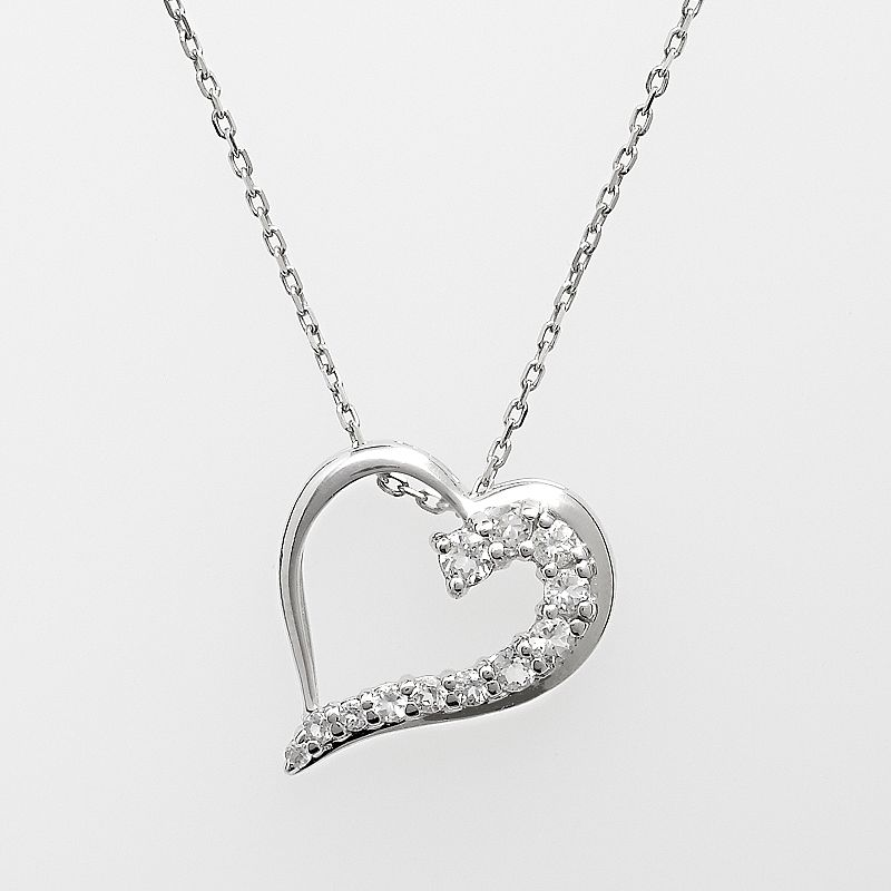 Sterling Silver Lab-Created White Sapphire Heart Pendant