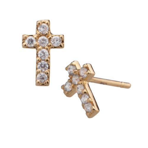 18k Gold Over Silver Cubic Zirconia Cross Stud Earrings - Kids