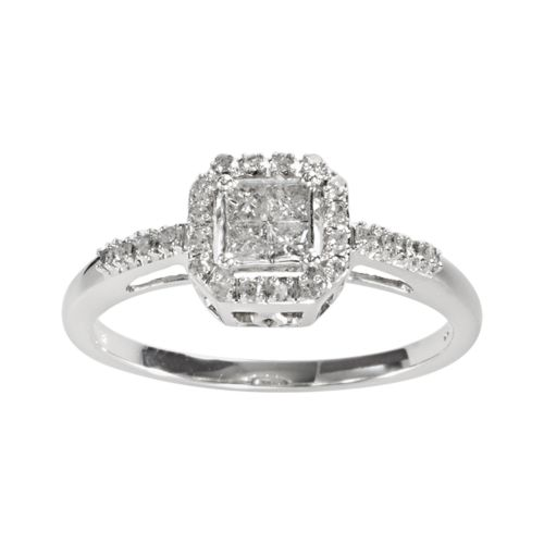 Princess-Cut Diamond Square Frame Engagement Ring in 10k White Gold (1/4 ct. T.W.)