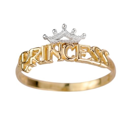 Disney 18k Gold Over Silver and Sterling Silver Princess Ring - Kids