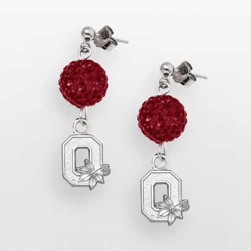 Ohio State Buckeyes Sterling Silver Crystal Linear Drop Earrings