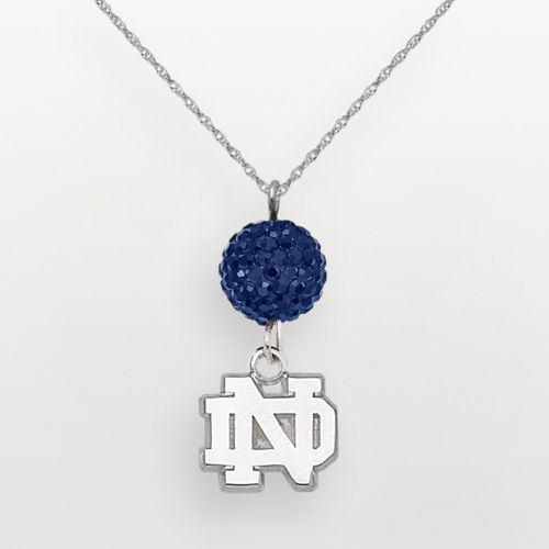 Notre Dame Fighting Irish Sterling Silver Crystal Logo Y Necklace