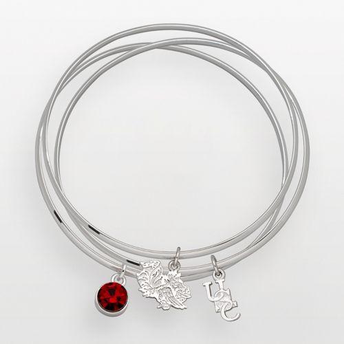 South Carolina Gamecocks Silver Tone Crystal Charm Bangle Bracelet Set
