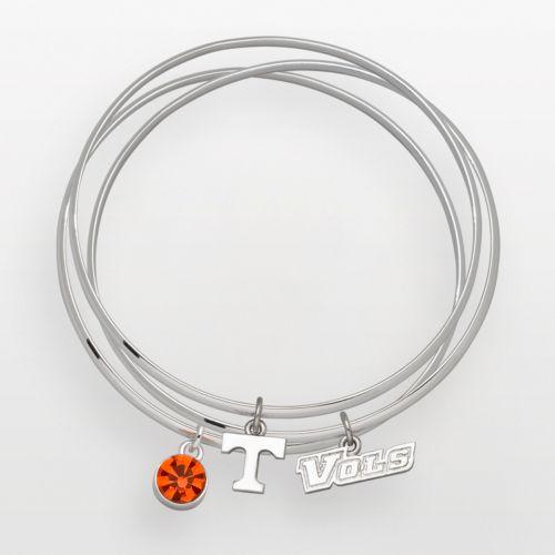 Tennessee Volunteers Silver Tone Crystal Charm Bangle Bracelet Set