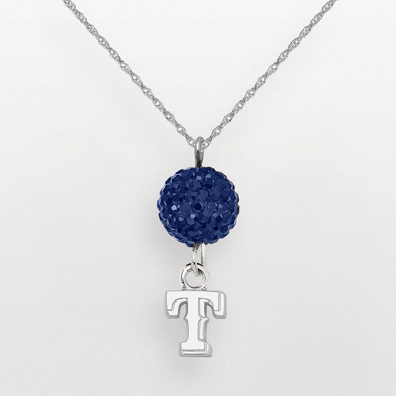 LogoArt Texas Rangers Sterling Silver Crystal Logo Pendant