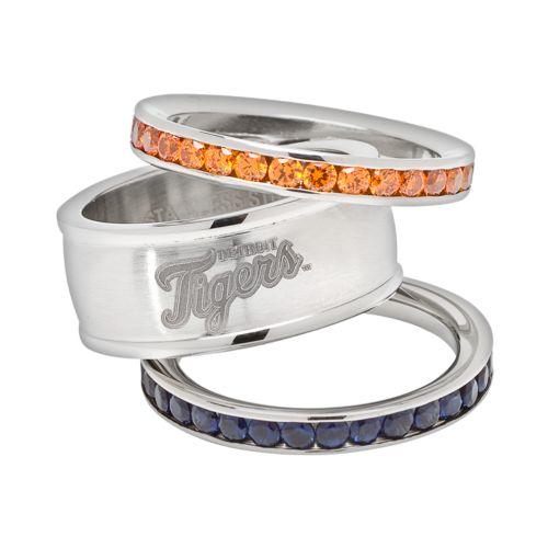 LogoArt Detroit Tigers Stainless Steel Crystal Stack Rings
