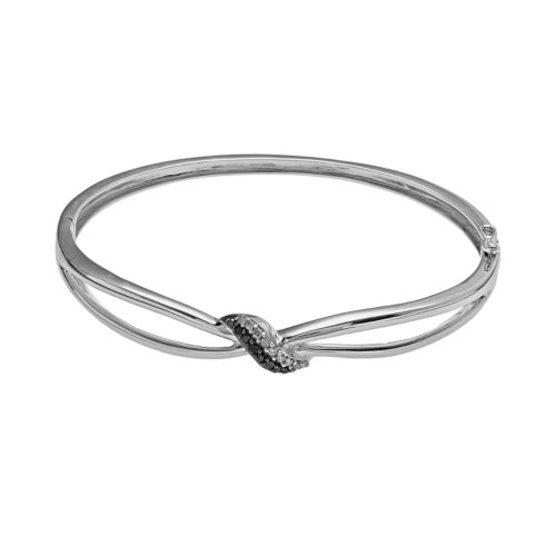 Sterling Silver 1/4-ct. Black and White Diamond Twist Bangle Bracelet