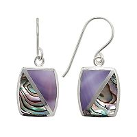 Sterling Silver Abalone Rectangle Drop Earrings