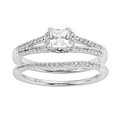 Princess-Cut Certified Diamond Engagement Ring Set in 14k White Gold (5/8 ct. T.W.) by