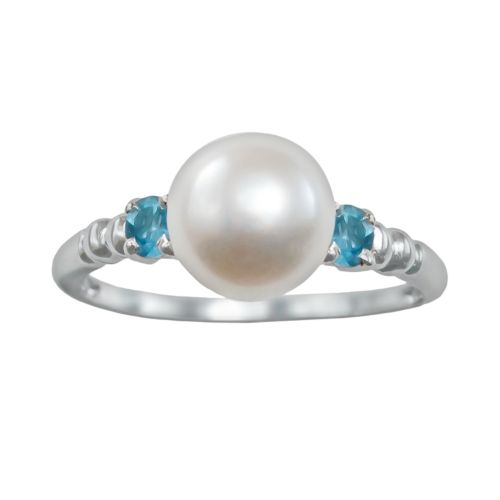 Sterling Silver Freshwater Cultured Pearl and Aquamarine Ring