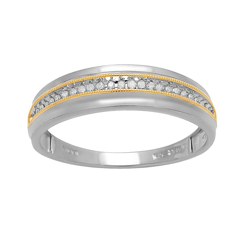 18k Gold Over Silver and Sterling Silver 1/10-ct. T.W. Diamond Wedding Band