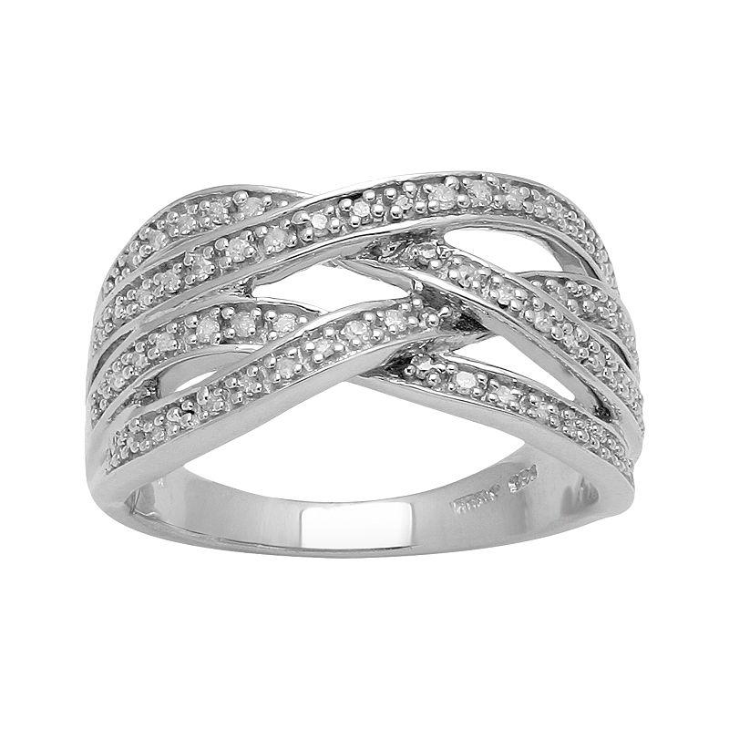 Sterling Silver 1/5-ct. T.W. Diamond Crisscross Ring