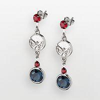 LogoArt Washington Capitals Silver Tone Crystal Logo Linear Drop Earrings