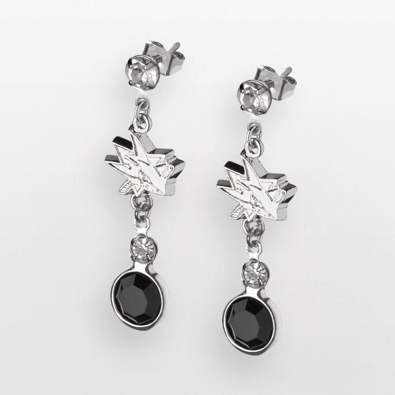 LogoArt San Jose Sharks Silver Tone Crystal Logo Linear Drop Earrings (Black) 92453495