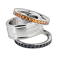 LogoArt Pittsburgh Penguins Stainless Steel Crystal Stack Ring Set